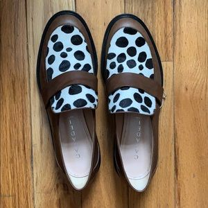 Casadei Cow Print Leather Loafers